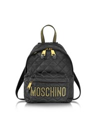 Moschino Black Quilted Nylon Small Backpack W Studs