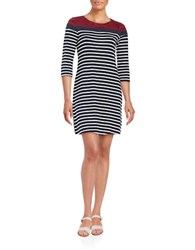 Design Lab Lord And Taylor Three Quarter Sleeve Striped Shift Dress Navy Cream