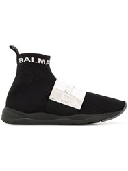 Balmain Hi Top Plaque Sneakers Black