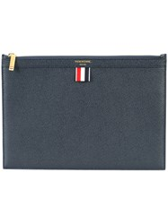 Thom Browne Small Zipper Tablet Holder Navy In Pebble Grain Blue