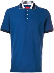 Isaia Short Sleeved Polo Shirt Blue