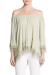 Saks Fifth Avenue Lace Hem Off The Shoulder Top Green