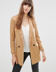 Vero Moda Noah Longline Jacket In Brown Tobacco Brown