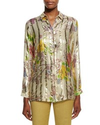 Etro Long Sleeve Floral Striped Blouse Gold