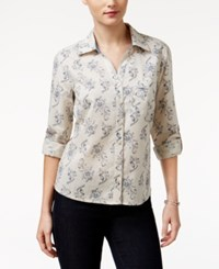 Styleandco. Style Co. Petite Printed Roll Tab Shirt Only At Macy's Stone Wonder