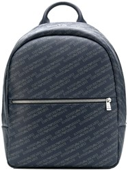 Emporio Armani All Over Logo Backpack Blue