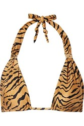 Vix Swimwear Bia Tiger Print Triangle Bikini Top Tan