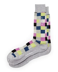 Box Check Socks Gray Multi Gray Psycho Bunny
