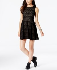 Fire Juniors' Burnout Fit And Flare Dress Black Nude