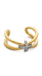 Giles And Brother Skinny X Knot Pave Ring Gold Clear