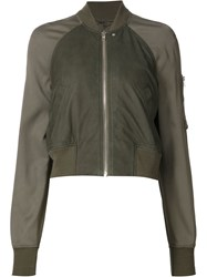 Rick Owens Cropped Bomber Jacket Green