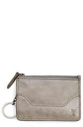 Frye Women's Melissa Leather Card Holder With Key Ring Grey Ice