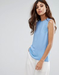 Warehouse Sleeveless Lace Detail Top Light Blue