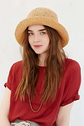 Urban Outfitters Contrast Stitch Straw Bucket Hat Tan