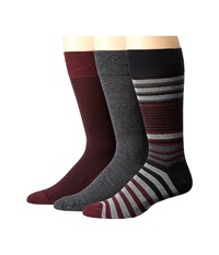 Cole Haan Multi Striped Crew 3 Pack Black Mid Grey Graphite Heather Port Royale Black Men's Crew Cut Socks Shoes