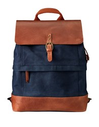 Timberland Nantasket Leather Trimmed Canvas Backpack Navy
