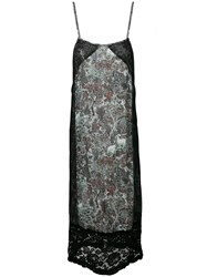 I'm Isola Marras Floral Print Lace Panel Shift Dress Black
