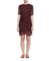 Etoile Isabel Marant Barden Twist Front Silk Polka Dot Dress Burgundy