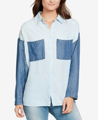 William Rast Colorblocked Chambray Shirt Oxford Comma