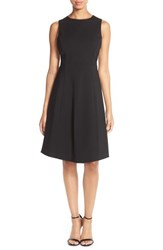 Petite Women's Felicity And Coco Stretch Crepe Fit And Flare Dress Black