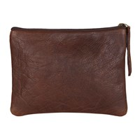 N'damus London Brown Leather Flat Makeup Pouch