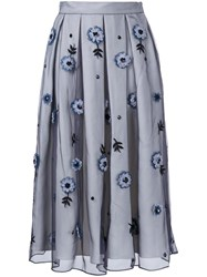 Holly Fulton Flower Embellished Pleated Skirt Grey