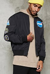 Forever 21 Nasa Patched Bomber Jacket Black White