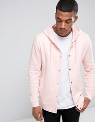 Asos Hoodie With Snaps In Pink Strawberry Cream