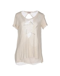 Twenty Easy By Kaos Topwear T Shirts Women Beige