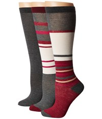 Steve Madden 3 Pack Stripe Knee High Heather Grey Women's Knee High Socks Shoes Gray