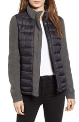 Marc New York Mark Packable Knit Trim Puffer Jacket Black Grey