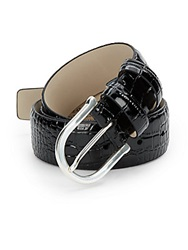 Hickey Freeman Croc Embossed Leather Belt Black
