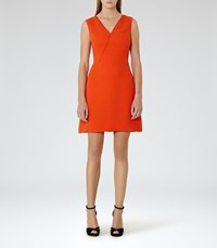 Reiss Gianna Womens Lace Trim Shift Dress In Red