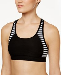 Ideology Colorblocked Ladder Back Mid Impact Sports Bra Only At Macy's Noir