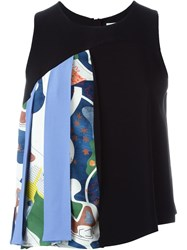 Msgm Patchwork Detail Tank Top Black