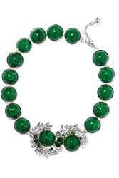Shourouk Silver Tone Paillette And Crystal Necklace Green