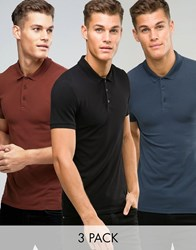 Asos 3 Pack Muscle Polo Shirt In Chestnut Black Blue Multi