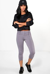 Boohoo Fold Over Waistband Basic 3 4 Leggings Smoke