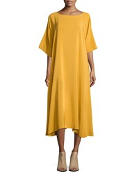 Eskandar Scoop Neck T Shirt Dress Tumeric