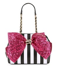 Betsey Johnson Bow Accented Faux Leather Satchel Fuschia Sequin