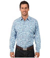 Stetson Surfs Up Paisley Print On Poplin Blue Men's Long Sleeve Button Up