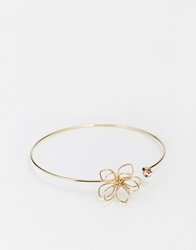 Asos Limited Edition Open Flower And Crystal Cuff Bracelet