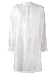 Dusan Striped Shirt Dress White