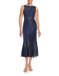 Erin Fetherston Diana Embroidered Flared Hem Gown Navy