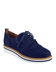 Tommy Hilfiger Kabrielle Wingtip Suede Oxfords Navy Blue