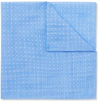 Anderson And Sheppard Polka Dot Cotton Pocket Square Blue