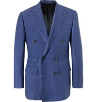 Thom Sweeney Blue Slim Fit Double Breasted Wool Silk And Linen Blend Chambray Blazer Navy