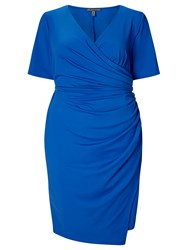 Adrianna Papell Short Sleeve Faux Wrap Dress Blue