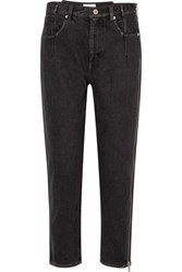 3.1 Phillip Lim Zip Embellished High Rise Tapered Jeans Black