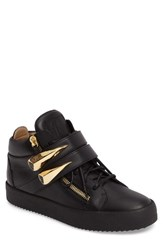 Giuseppe Zanotti Men's Gold Horn Mid Top Sneaker Black